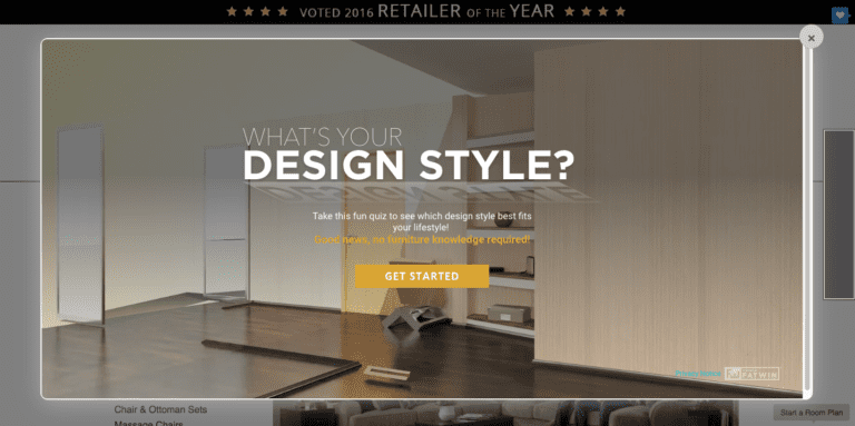 Image of furniture store website