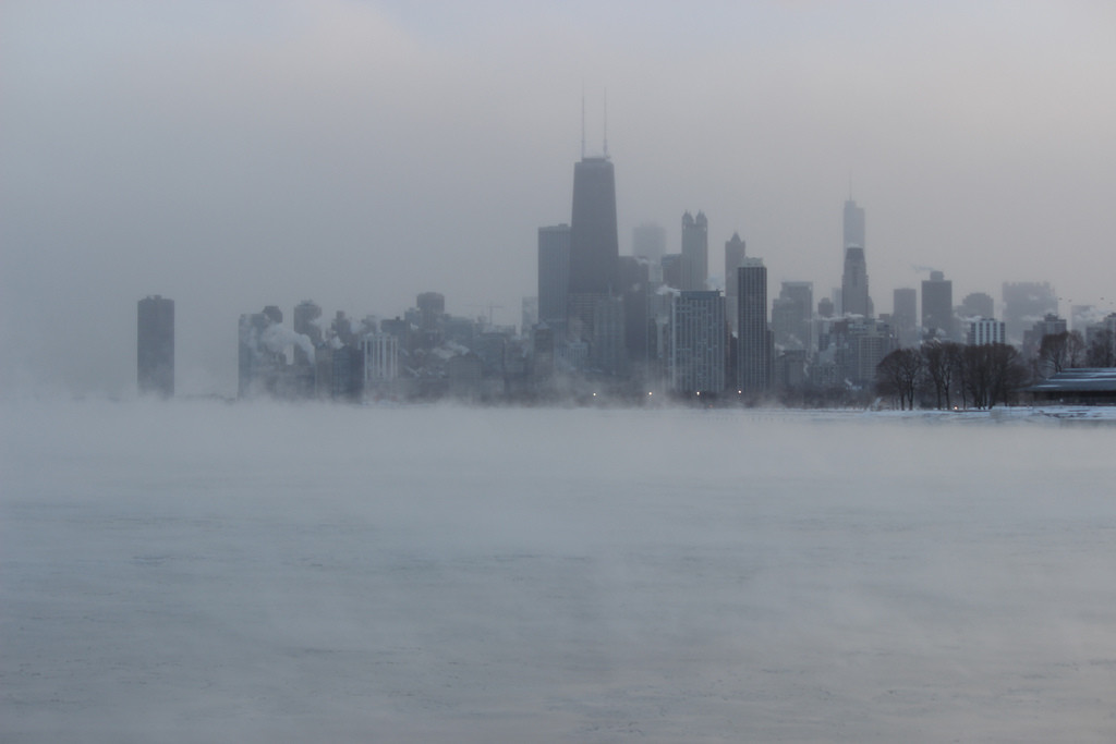 Cold city skyline in winter