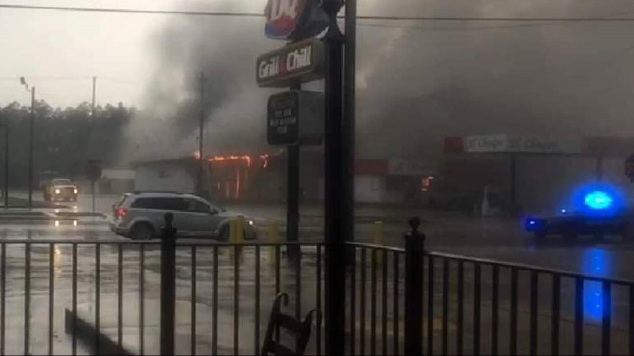 Badcock store on fire