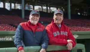 Jordan's Furniture photo, above, shows Eliot Tatelman with then-Boston Mayor Thomas Menino at Fenway Park in 2014.