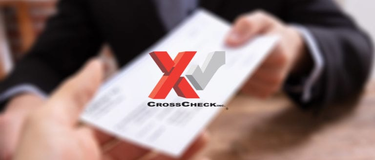 CrossCheck Logo on an image of someone handing over a check