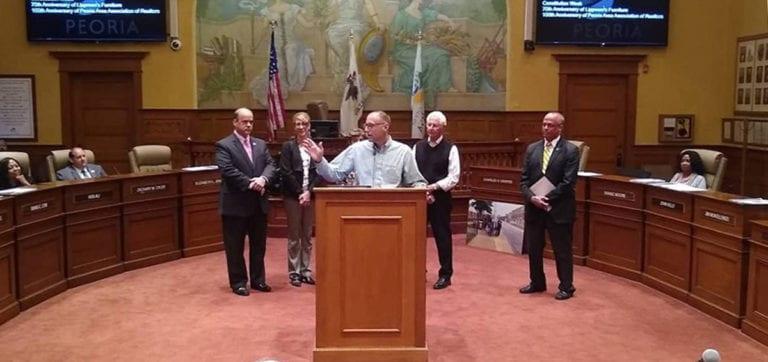 Mike Wiesehan speaks at Peoria City Council meeting.