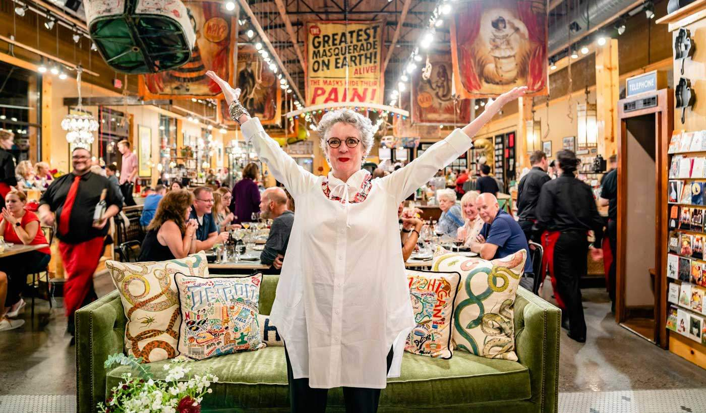 Mary Liz Curtin of Leon & Lulu is one of the most creative entrepreneurs in retail furniture but always draws inspiration from market. She's seen in the Three Cats restaurant inside her Clawson, Mich., store.