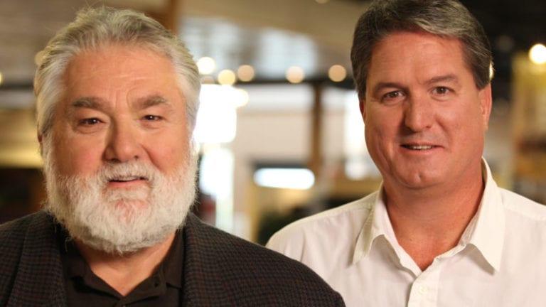 Former Stoney Creek Furniture Dennis Novosel, left and current president Jim Fee.