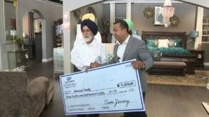 Exclusive Furniture's Sam Zavary donates more than $31,000 Deputy Sandeep Dhaliwal's father Pyara Singh Dhaliwal.